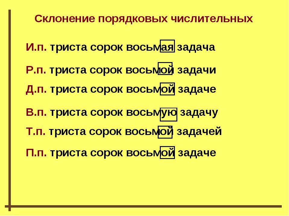 Склонение порядковых числительных И.п. триста сорок восьмая задача Р.п. трист...