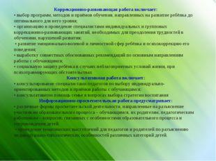 Коррекционно-развивающая работа включает: • выбор программ, методов и приёмов