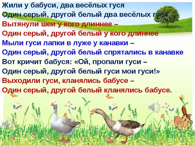 Жили у бабуси, два весёлых гуся Один серый, другой белый два весёлых гуся. Вы...
