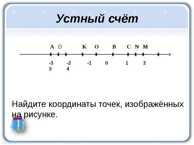 -3 -2 -1 0 1 2 3 4 А D K O B C N M Устный счёт Найдите координаты точек, изо...
