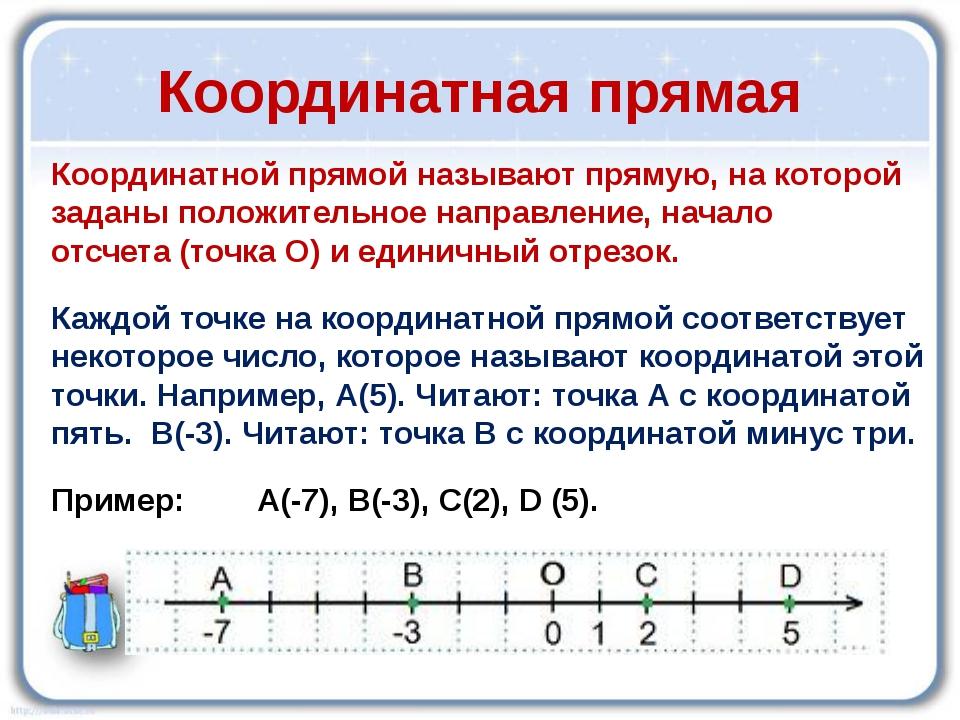 Координатная прямая Координатнойпрямой называют прямую, на которой заданыпо...
