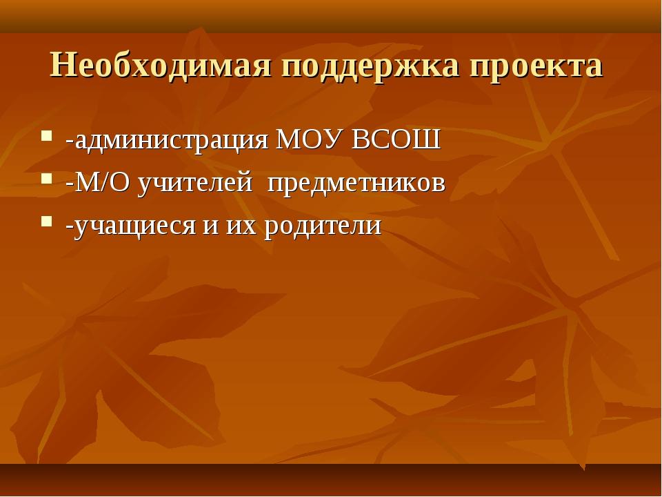 Необходимая поддержка проекта -администрация МОУ ВСОШ -М/О учителей предметни...