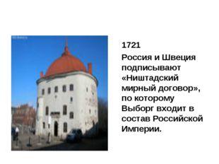 1721 Россия и Швеция подписывают «Ништадский мирный договор», по которому В