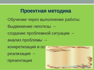 Проектная методика Обучение через выполнение работы: Выдвижение гипотезы → с