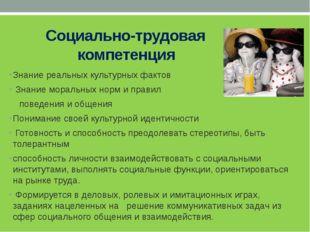 Социально-трудовая компетенция Знание реальных культурных фактов Знание мора