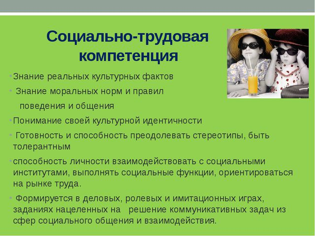 Социально-трудовая компетенция Знание реальных культурных фактов Знание мора...