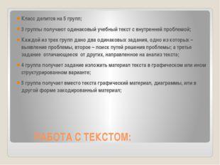 РАБОТА С ТЕКСТОМ: Класс делится на 5 групп; 3 группы получают одинаковый уче