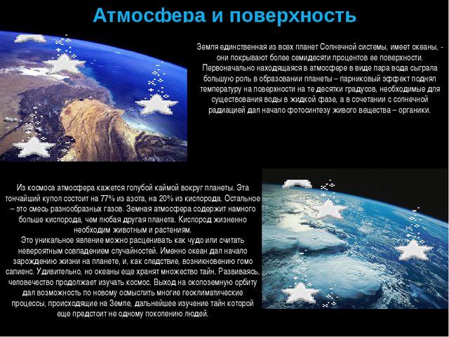 Атмосфера и поверхность Земля единственная из всех планет Солнечной системы,...