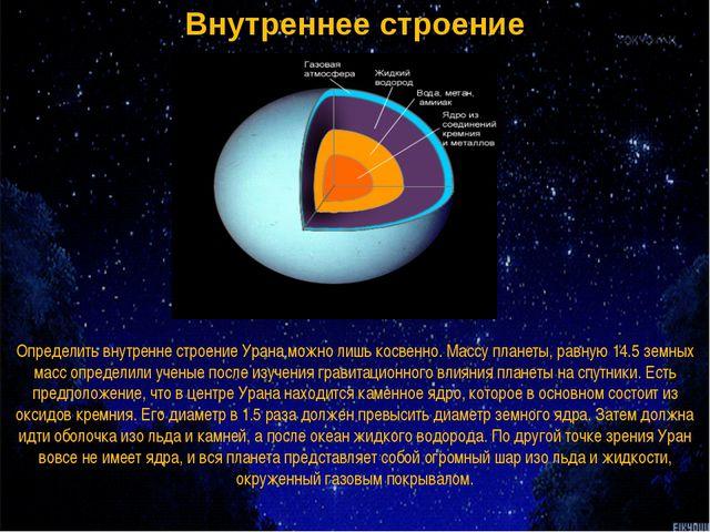 Внутреннее строение Определить внутренне строение Урана можно лишь косвенно....