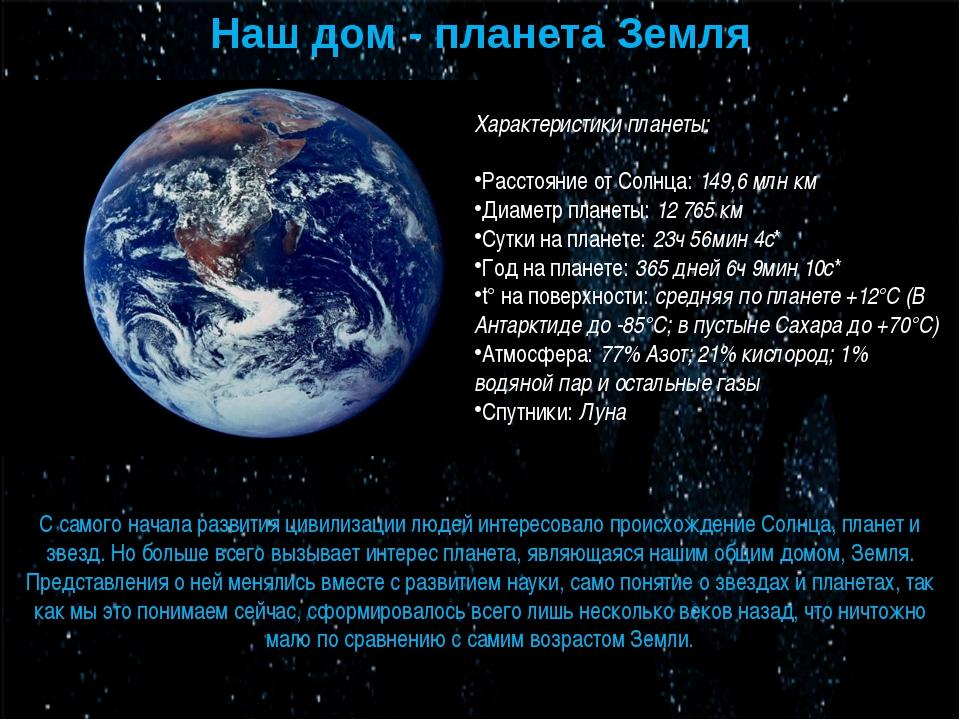 Наш дом - планета Земля Характеристики планеты:  Расстояние от Солнца:149,6...