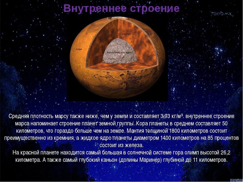 Средняя плотность марсу также ниже, чем у земли и составляет 3,93 кг/м³. внут...