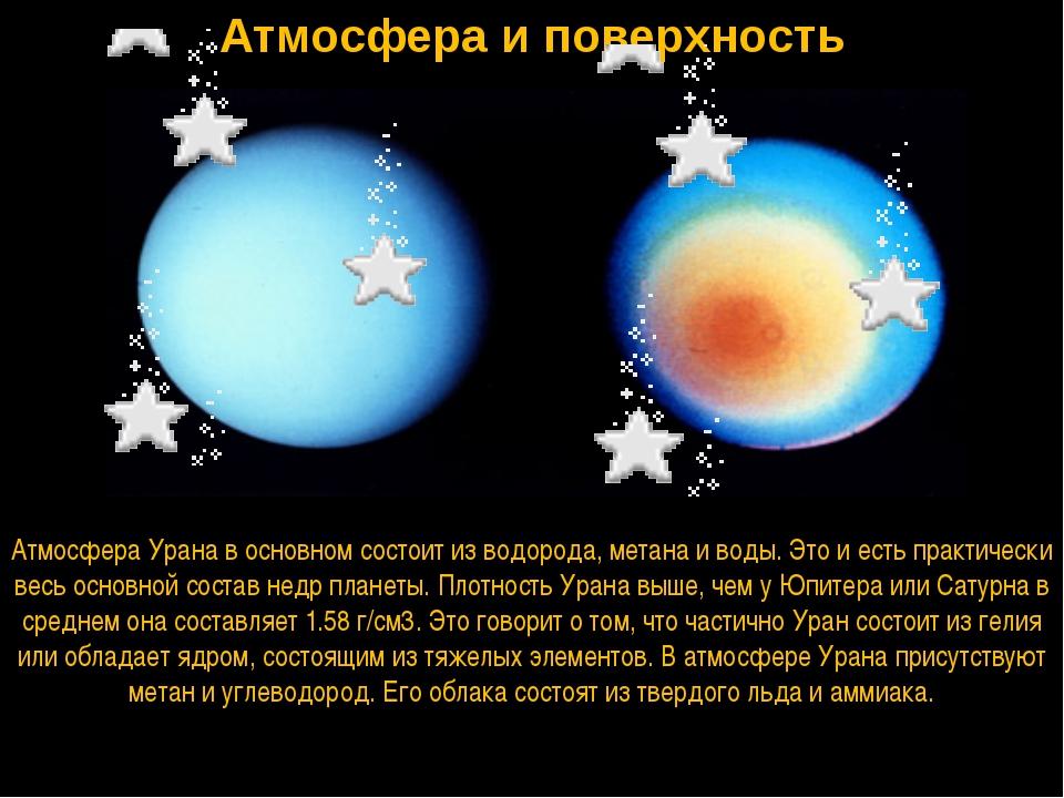 Атмосфера и поверхность Атмосфера Урана в основном состоит из водорода, метан...