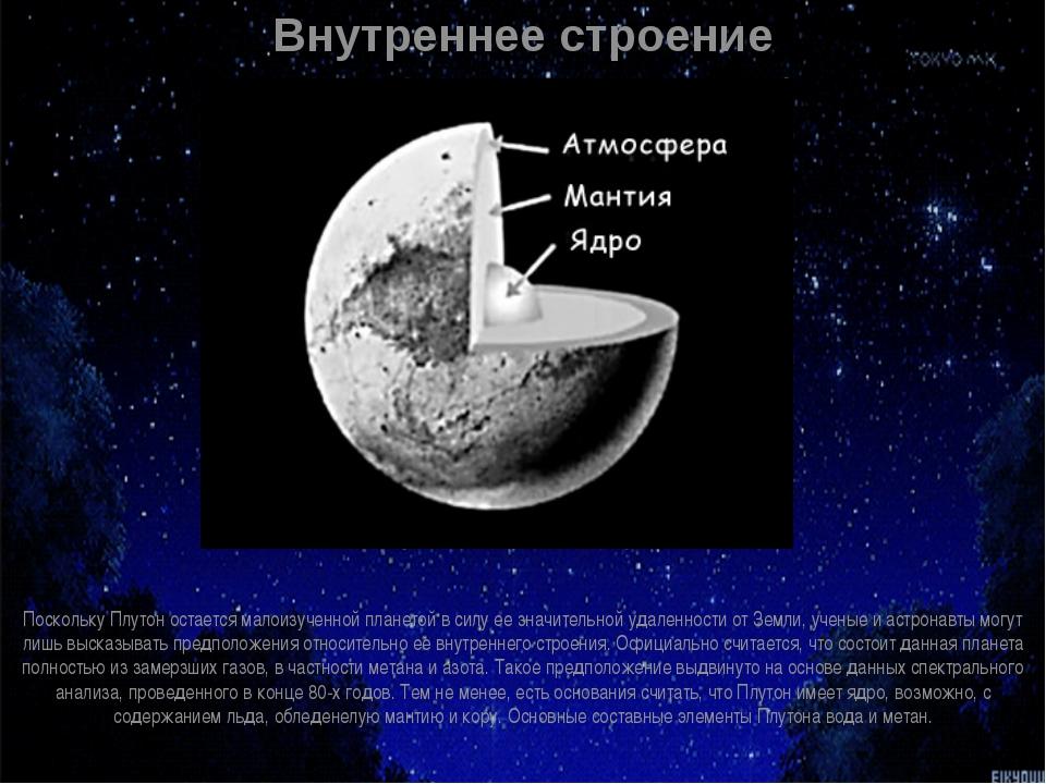 Внутреннее строение Поскольку Плутон остается малоизученной планетой в силу е...