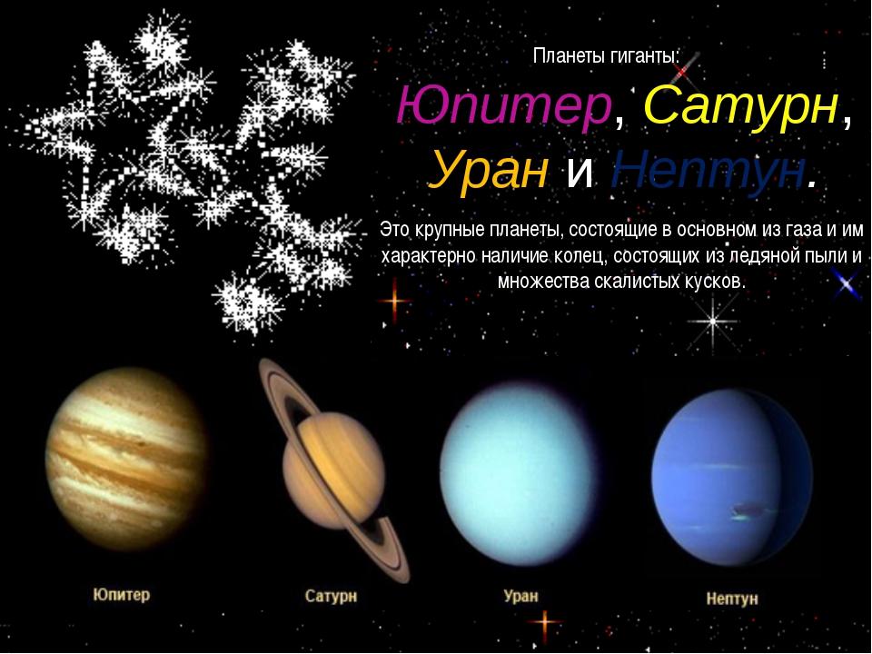 Планеты гиганты: Юпитер, Сатурн, Урани Нептун. Это крупные планеты, состоящи...