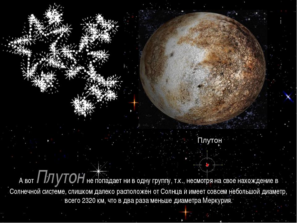 А вот Плутонне попадает ни в одну группу, т.к., несмотря на свое нахождение...