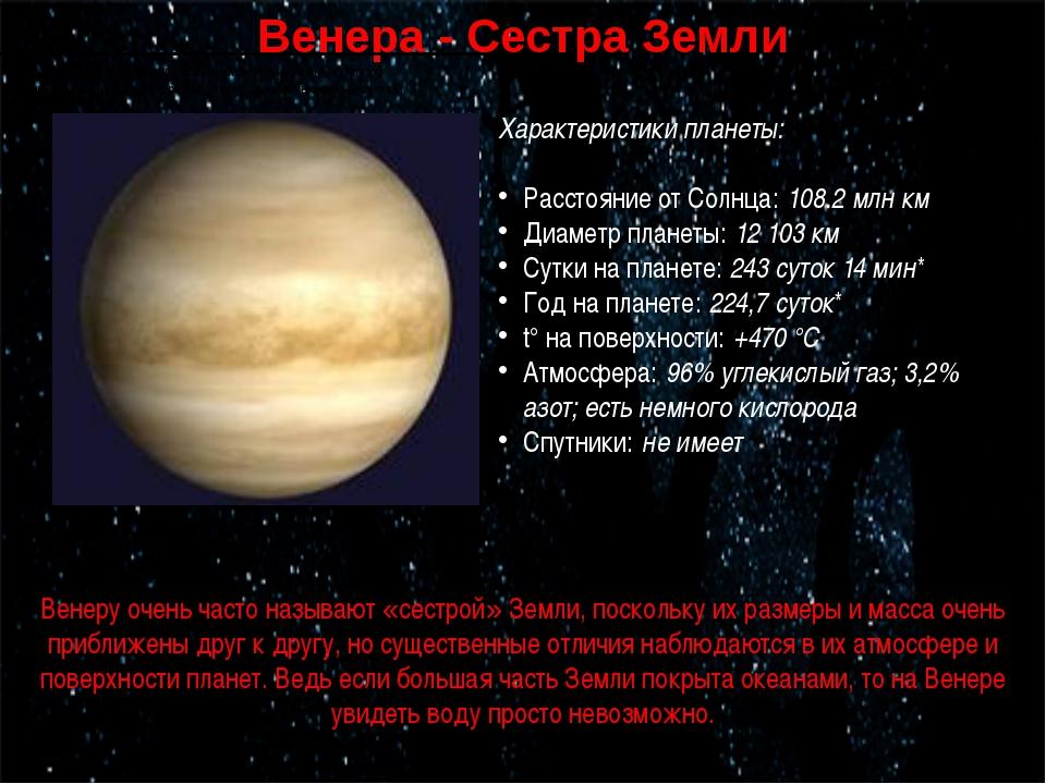 Венера - Сестра Земли * период вращения вокруг собственной оси (в земных сутк...