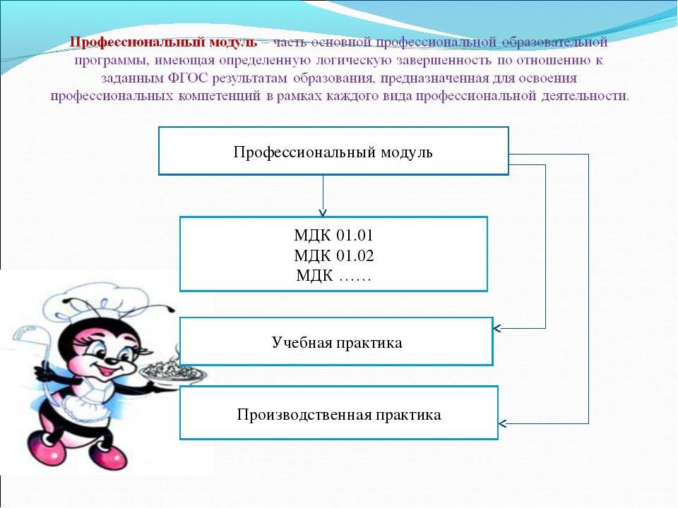 Профессиональный модуль МДК 01.01 МДК 01.02 МДК …… Учебная практика Производс...