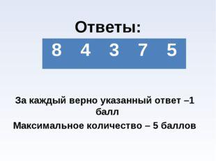 Ответы: За каждый верно указанный ответ –1 балл Максимальное количество – 5
