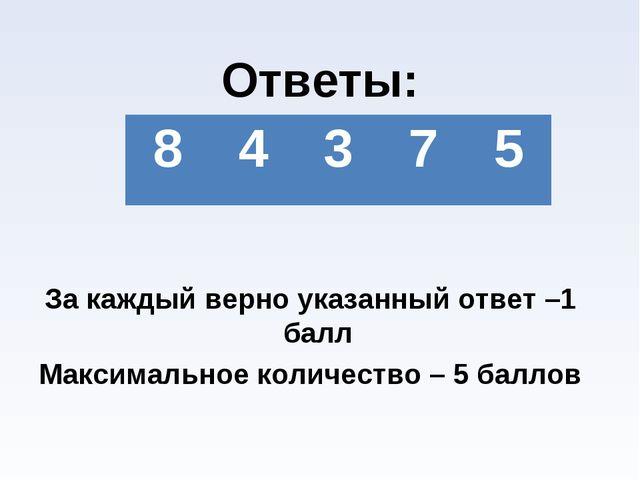Ответы: За каждый верно указанный ответ –1 балл Максимальное количество – 5...