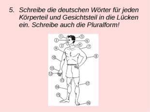 Schreibe die deutschen Wörter für jeden Körperteil und Gesichtsteil in die Lü