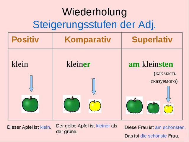 Wiederholung Steigerungsstufen der Adj. Positiv Komparativ Superlativ klein k...
