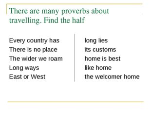 There are many proverbs about travelling. Find the half Every country haslo