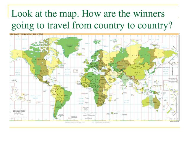 Look at the map. How are the winners going to travel from country to country?