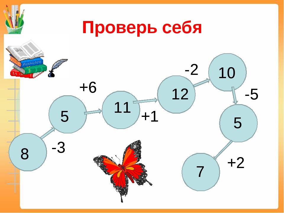 Проверь себя 8 -3 5 +6 11 +1 12 -2 10 -5 5 +2 7