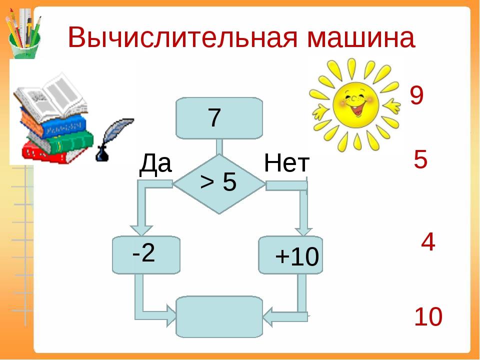 Вычислительная машина Да Нет 7 > 5 -2 +10 9 5 4 10
