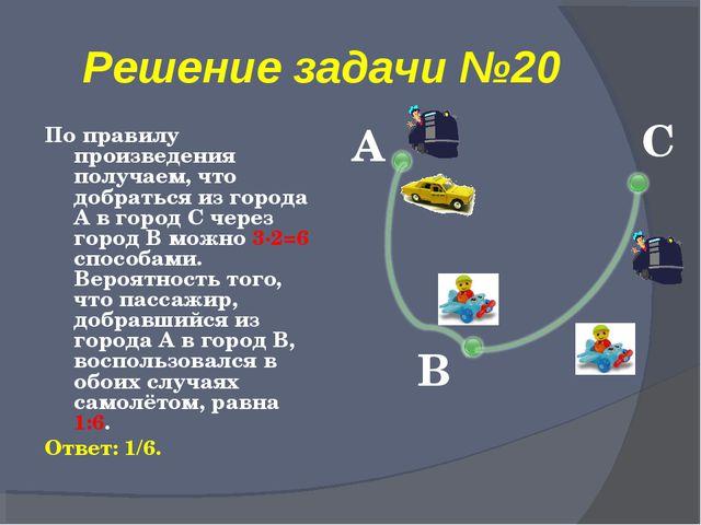 Решение задачи №20 По правилу произведения получаем, что добраться из города...