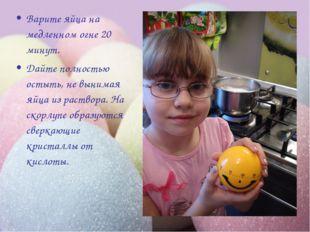 Варите яйца на медленном огне 20 минут. Дайте полностью остыть, не вынимая яй