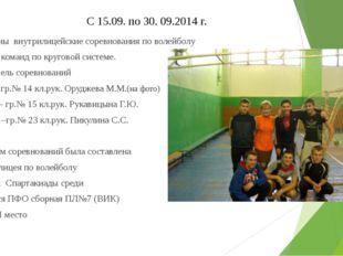 С 15.09. по 30. 09.2014 г. Проведены внутрилицейские соревнования по волейбо
