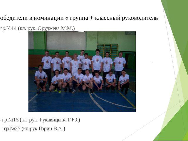 Победители в номинации « группа + классный руководитель I место – гр.№14 (кл...