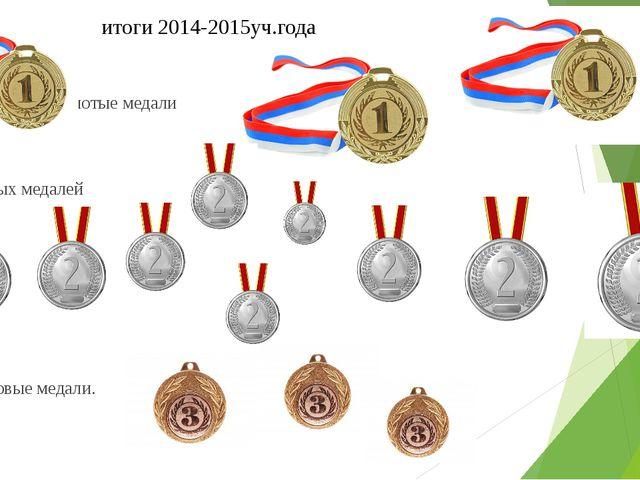 итоги 2014-2015уч.года III золотые медали IX серебряных медалей III бронзовы...
