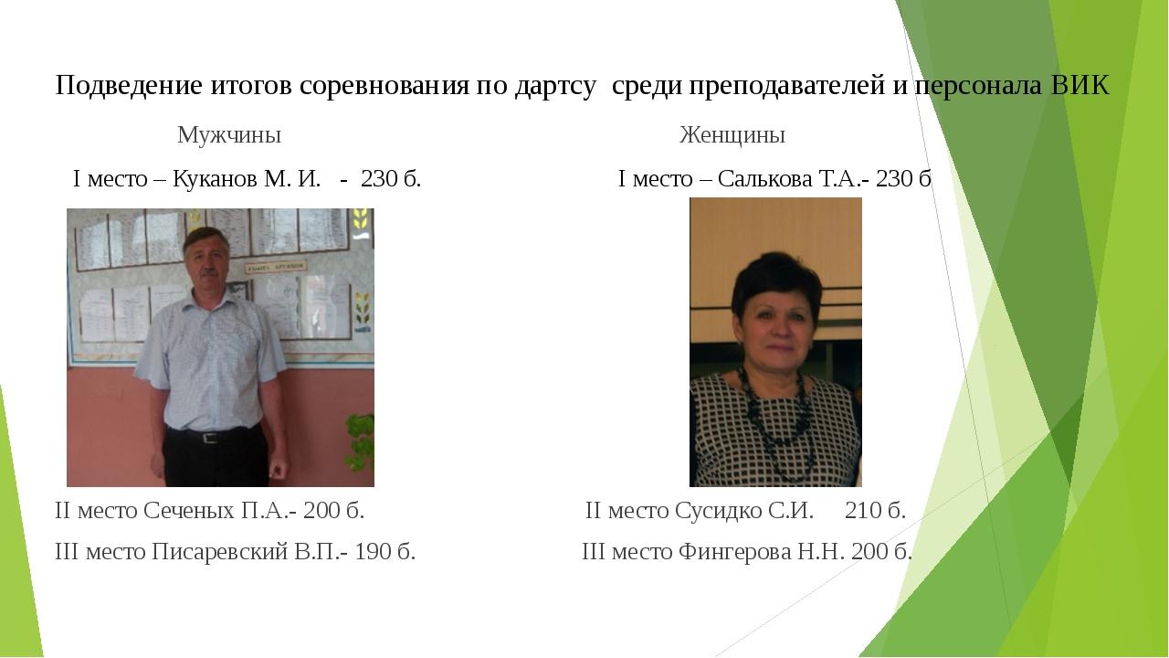 Подведение итогов соревнования по дартсу среди преподавателей и персонала ВИК...