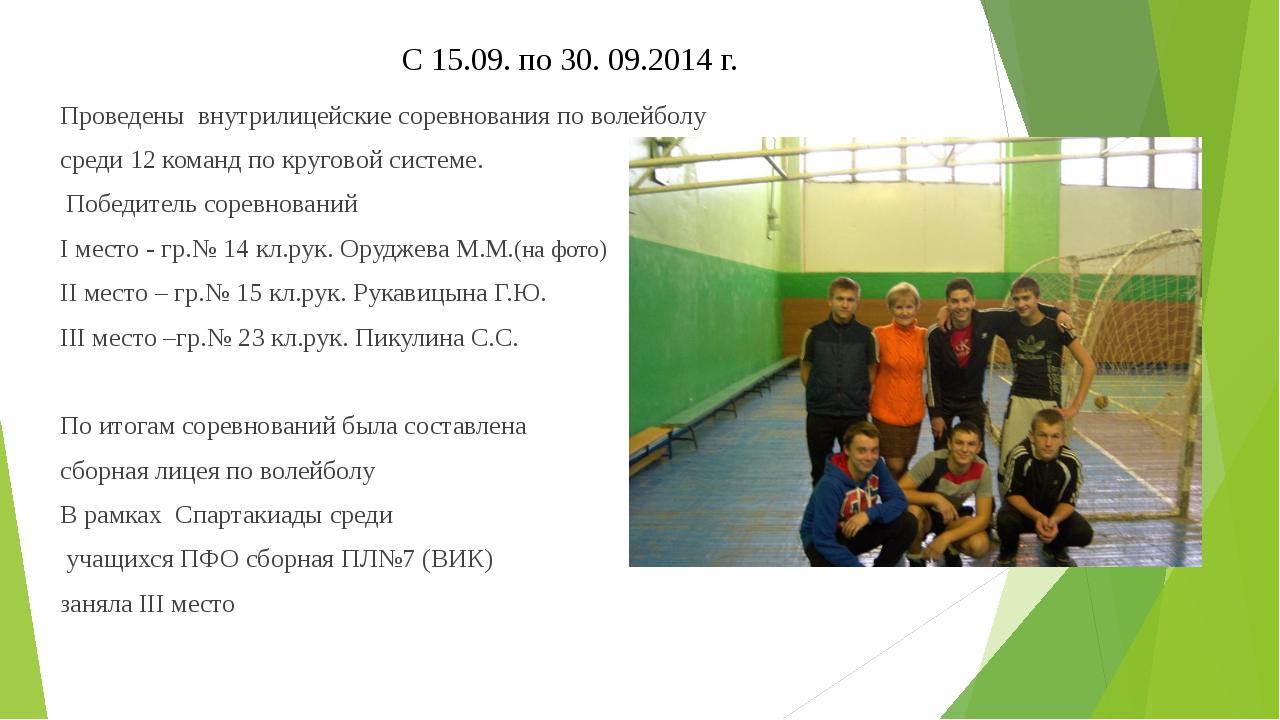 С 15.09. по 30. 09.2014 г. Проведены внутрилицейские соревнования по волейбо...