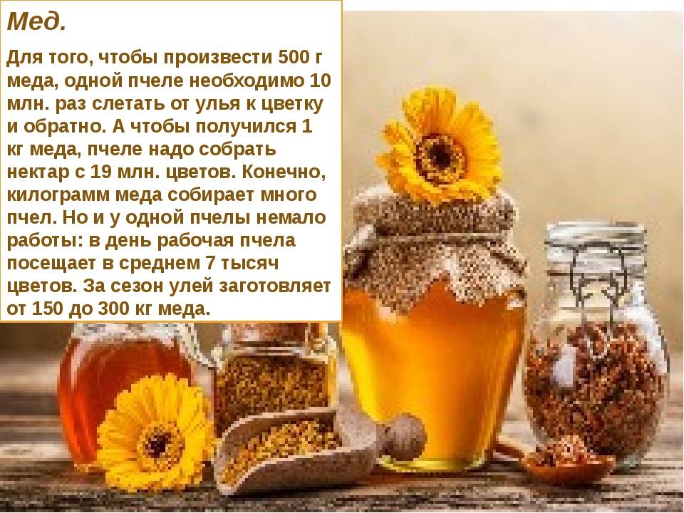 Мед. Для того, чтобы произвести 500 г меда, одной пчеле необходимо 10 млн. ра...