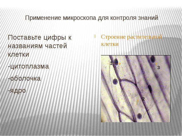 Применение микроскопа для контроля знаний Поставьте цифры к названиям частей...