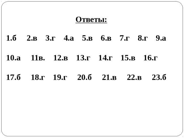 1.б 2.в 3.г 4.а 5.в 6.в 7.г 8.г 9.а 10.а 11в. 12.в 13.г 14.г 15.в 16.г 17.б 1...