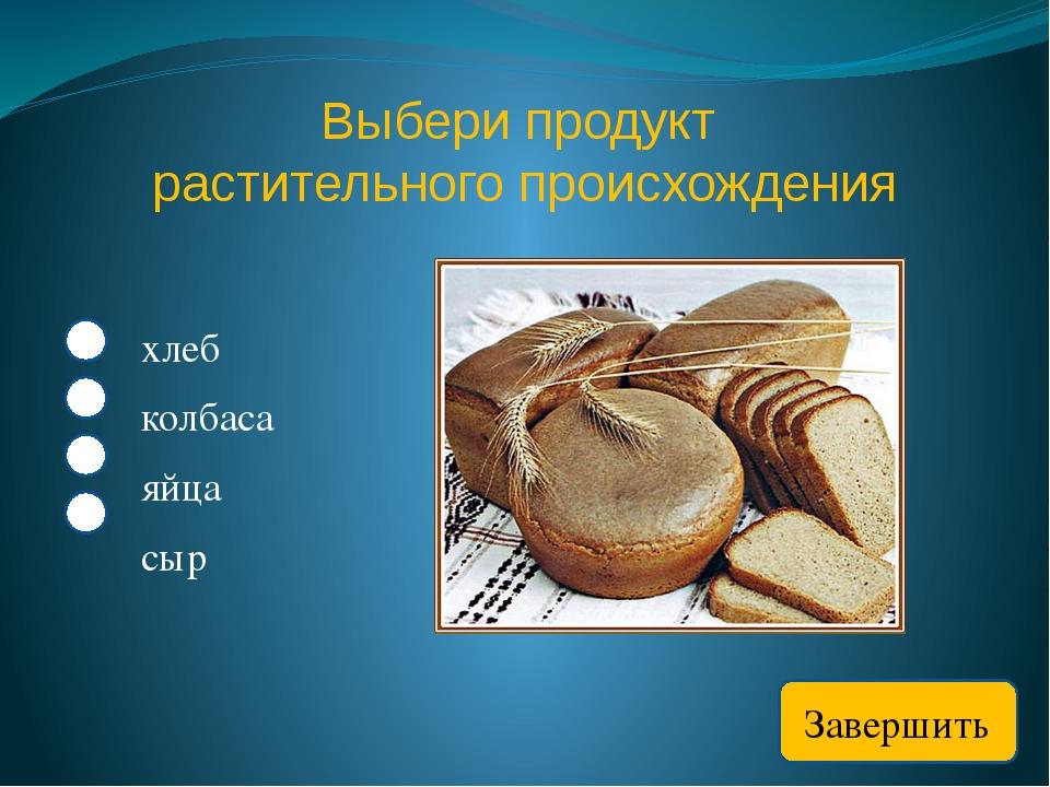 Выбери продукт растительного происхождения хлеб колбаса яйца сыр Завершить