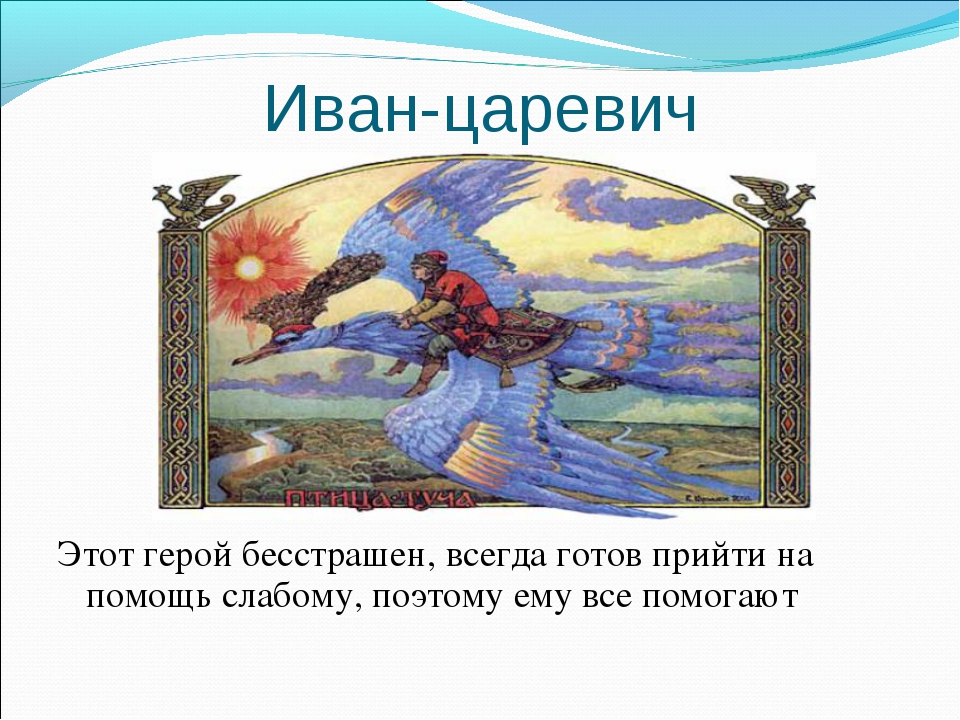 Иван-царевич Этот герой бесстрашен, всегда готов прийти на помощь слабому, по...