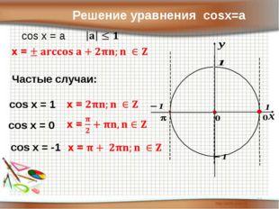 Решение уравнения cosx=a cos x = a Частые случаи: cos x = 1 cos x = 0 cos x =