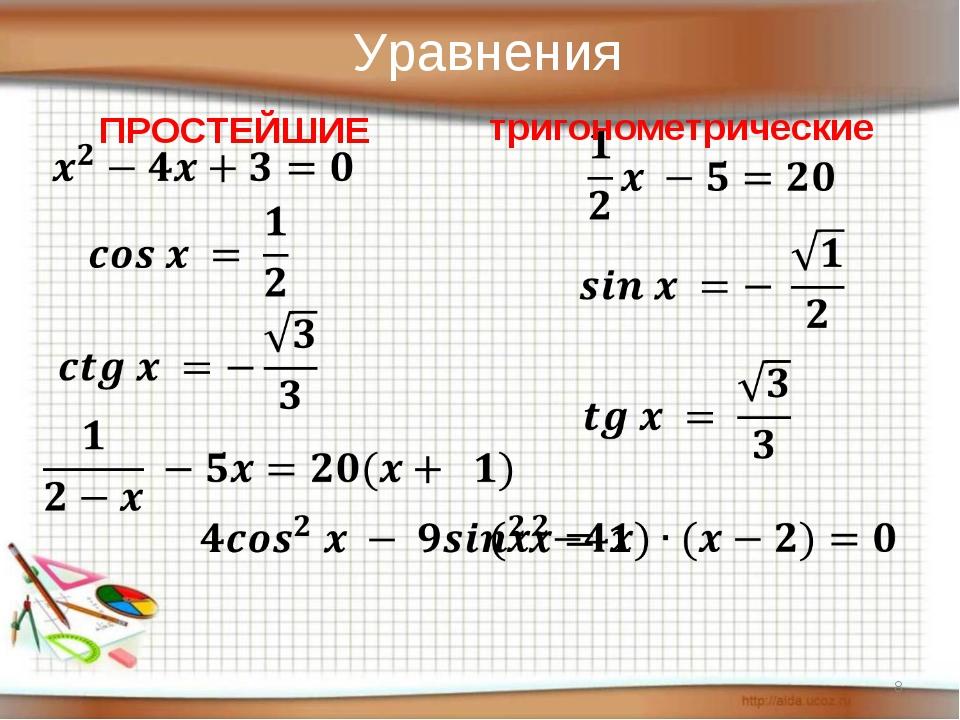 * Уравнения ПРОСТЕЙШИЕ тригонометрические
