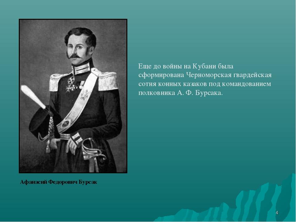 * Афанасий Федорович Бурсак Еще до войны на Кубани была сформирована Черномор...