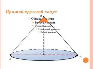 Прямой круговой конус A B C O