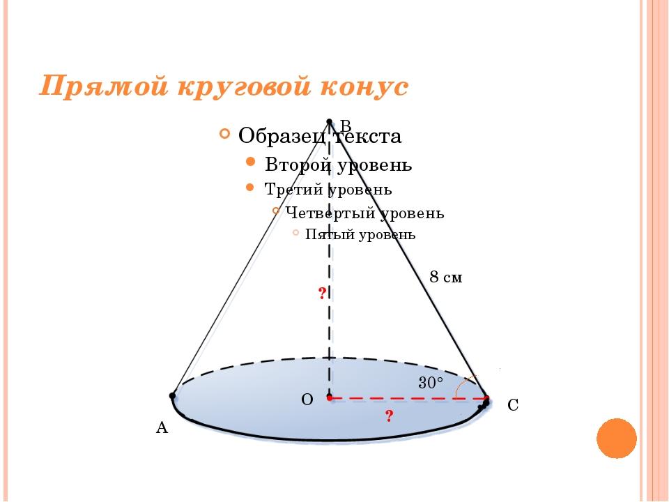 Прямой круговой конус 8 см 30° ? ? A B C O