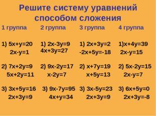 Решите систему уравнений способом сложения 1 группа2 группа3 группа4 групп
