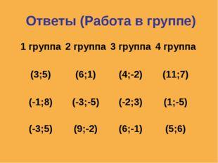 Ответы (Работа в группе) 1 группа2 группа 3 группа 4 группа (3;5) (6;1)