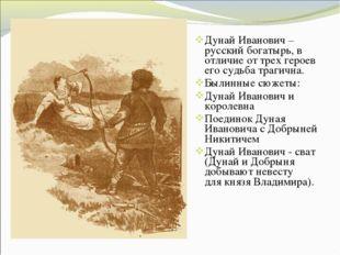 Дунай Иванович – русский богатырь, в отличие от трех героев его судьба трагич