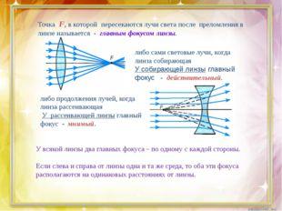 Точка F, в которой пересекаются лучи света после преломления в линзе называе